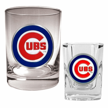 Chicago Cubs Rocks and Shot Glass Set