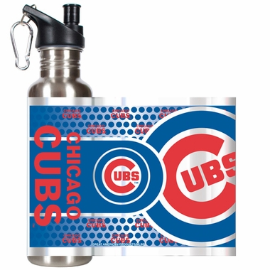 Chicago Cubs Stainless Steel Water Bottle with Hi-Def Graphics