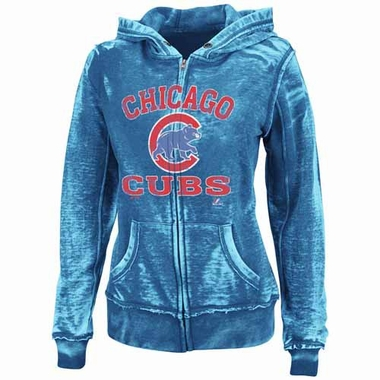 Chicago Cubs Women's Push the Limits Full Zip Hooded Burnout Sweatshirt - Royal