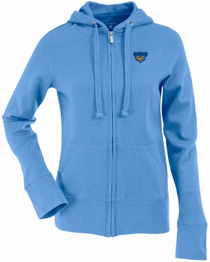 Chicago Cubs Womens Zip Front Hoody Sweatshirt (Cooperstown) (Color: Aqua)