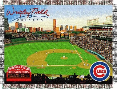 Chicago Cubs Wrigley Field Woven Throw Blanket Tapestry Throw