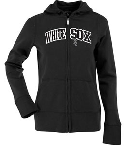 Chicago White Sox Applique Womens Zip Front Hoody Sweatshirt (Color: Black) - Medium