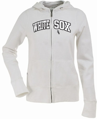 Chicago White Sox Applique Womens Zip Front Hoody Sweatshirt (Color: White)