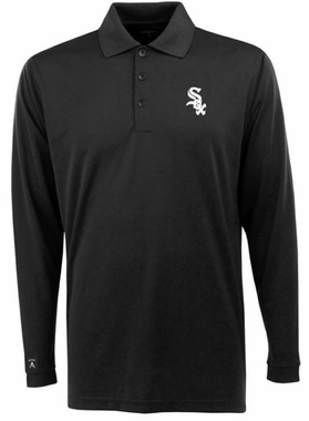 Chicago White Sox Mens Long Sleeve Polo Shirt (Color: Black)