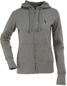 Chicago White Sox Womens Zip Front Hoody Sweatshirt (Color: Silver) - Large
