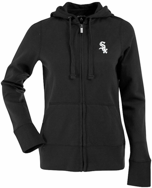 Chicago White Sox Womens Zip Front Hoody Sweatshirt (Color: Black)