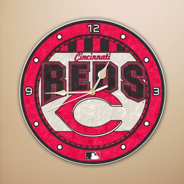 Cincinnati Reds Art Glass Clock