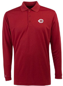 Cincinnati Reds Mens Long Sleeve Polo Shirt (Color: Red) - X-Large