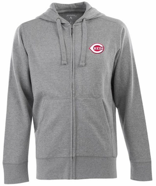 Cincinnati Reds Mens Signature Full Zip Hooded Sweatshirt (Color: Gray)