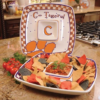 Clemson Gameday Ceramic Chip and Dip Platter