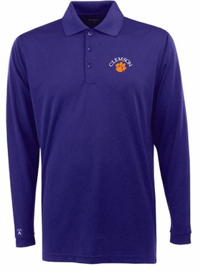 Clemson Mens Long Sleeve Polo Shirt (Color: Purple)