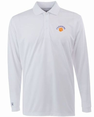 Clemson Mens Long Sleeve Polo Shirt (Color: White)