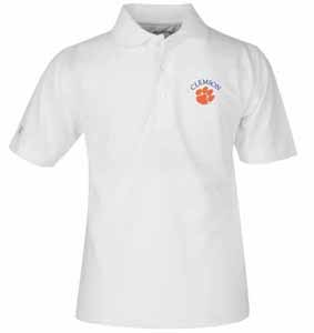 Clemson YOUTH Unisex Pique Polo Shirt (Color: White) - Small