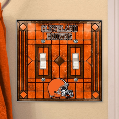 Cleveland Browns Art Glass Lightswitch Cover (Double)