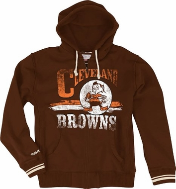 "Cleveland Browns Mitchell & Ness ""Start of Season"" Full Zip Sweatshirt - Brown"