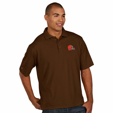 Cleveland Browns Mens Pique Xtra Lite Polo Shirt (Color: Brown)