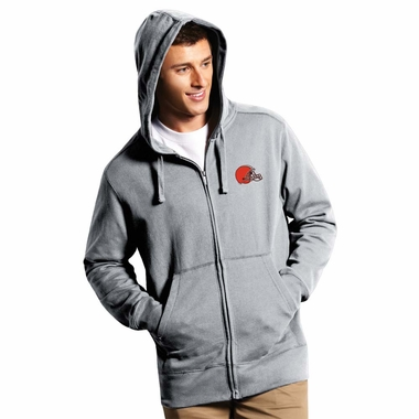 Cleveland Browns Mens Signature Full Zip Hooded Sweatshirt (Color: Gray) - Large