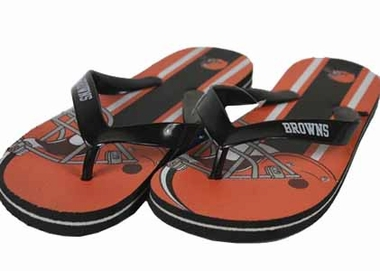Cleveland Browns Unisex Big Logo Flip Flops - Small