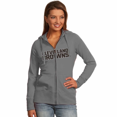 Cleveland Browns Womens Applique Zip Front Hoody Sweatshirt (Color: Silver)
