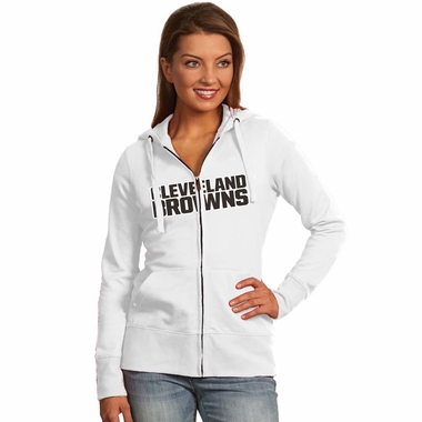 Cleveland Browns Applique Womens Zip Front Hoody Sweatshirt (Color: White)