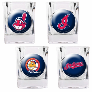 Cleveland Indians 4 Piece Assorted Shot Glass Set
