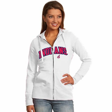 Cleveland Indians Applique Womens Zip Front Hoody Sweatshirt (Color: White)