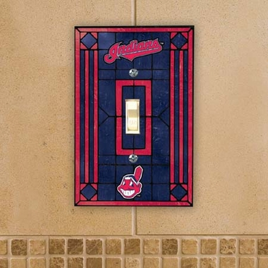 Cleveland Indians Art Glass Lightswitch Cover