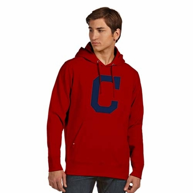 Cleveland Indians Big Logo Mens Signature Hooded Sweatshirt (Color: Red)