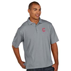 Cleveland Indians Mens Pique Xtra Lite Polo Shirt (Color: Gray) - XX-Large