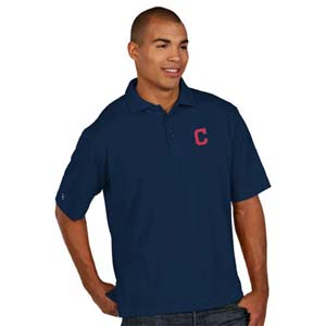 Cleveland Indians Mens Pique Xtra Lite Polo Shirt (Color: Navy) - Medium