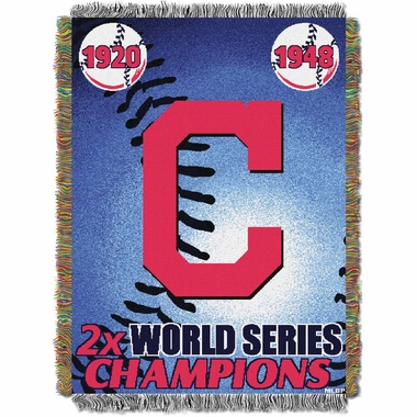 Cleveland Indians Commerative Jacquard Woven Blanket