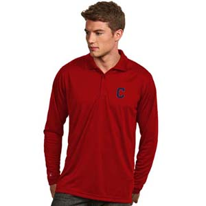 Cleveland Indians Mens Long Sleeve Polo Shirt (Color: Black) - X-Large