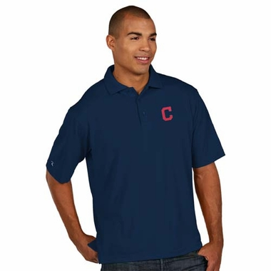 Cleveland Indians Mens Pique Xtra Lite Polo Shirt (Color: Navy)