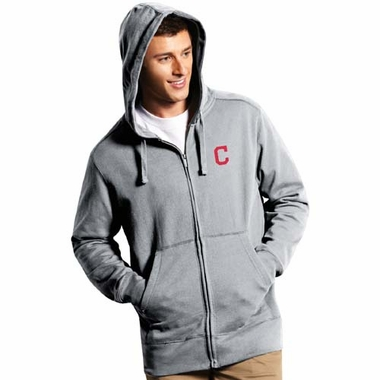 Cleveland Indians Mens Signature Full Zip Hooded Sweatshirt (Color: Silver)