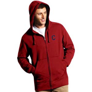 Cleveland Indians Mens Signature Full Zip Hooded Sweatshirt (Color: Red) - Small