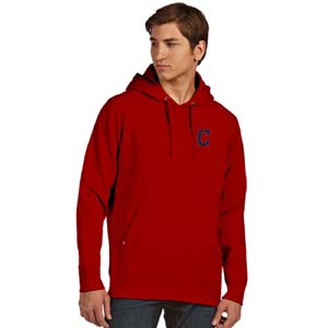 Cleveland Indians Mens Signature Hooded Sweatshirt (Color: Red) - Small