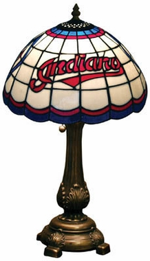 Cleveland Indians Stained Glass Table Lamp