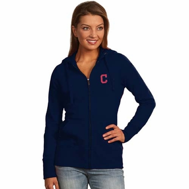 Cleveland Indians Womens Zip Front Hoody Sweatshirt (Color: Navy)