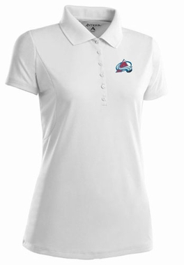 Colorado Avalanche Womens Pique Xtra Lite Polo Shirt (Color: White)