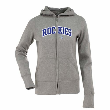 Colorado Rockies Applique Womens Zip Front Hoody Sweatshirt (Color: Gray)