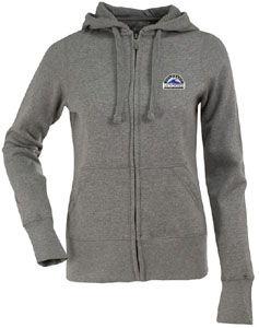 Colorado Rockies Womens Zip Front Hoody Sweatshirt (Color: Gray) - Small