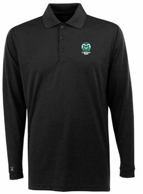 Colorado State Mens Long Sleeve Polo Shirt (Color: Black)