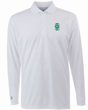Colorado State Mens Long Sleeve Polo Shirt (Color: White)