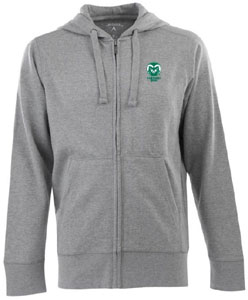 Colorado State Mens Signature Full Zip Hooded Sweatshirt (Color: Silver) - Large
