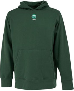 Colorado State Mens Signature Hooded Sweatshirt (Color: Green) - Large