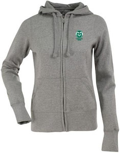 Colorado State Womens Zip Front Hoody Sweatshirt (Color: Silver) - Large