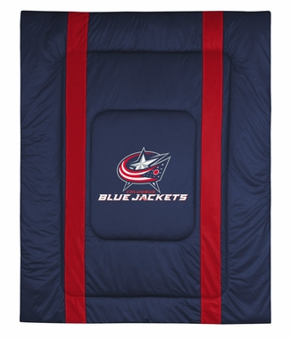 Columbus Blue Jackets SIDELINES Jersey Material Comforter