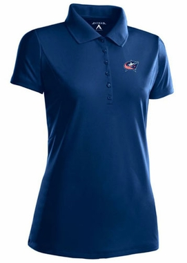 Columbus Blue Jackets Womens Pique Xtra Lite Polo Shirt (Color: Navy) - Small