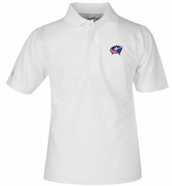 Columbus Blue Jackets YOUTH Unisex Pique Polo Shirt (Color: White)