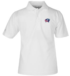 Columbus Blue Jackets YOUTH Unisex Pique Polo Shirt (Color: White) - Small